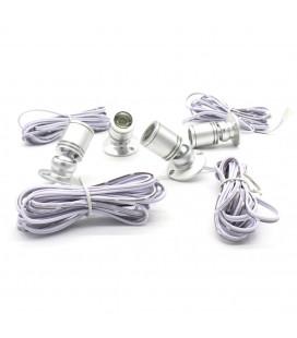 Комплект точечных витринных светильников с линзой, 4 шт, серебро