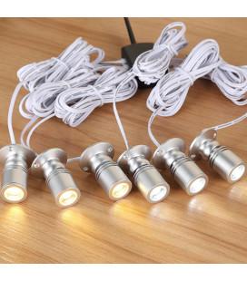 Комплект точечных витринных светильников с линзой, 6 шт, серебро