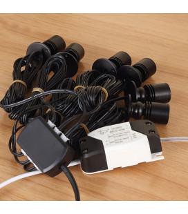 Комплект точечных витринных светильников с линзой, 6 шт, черный