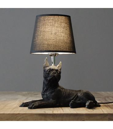 Настольная лампа с абажуром бульдог Джеки,черный
