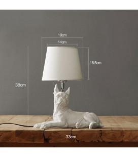 Настольная лампа с абажуром бульдог Джеки,белый