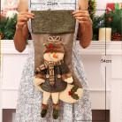 Носок для подарков, красный, Снеговик , зеленый 22х54 см