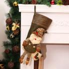 Носок для подарков, красный, Санта Клаус, зеленый 22х54 см