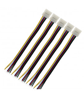 Соединитель односторонний RGBCCT - 6 Pin, 12 мм, провод 10-15 см