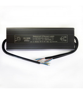 Блок питания, 12В DC, 300 Вт, алюминиевый, Slim compact , IP67