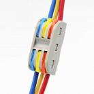 Клемма соединитель 3+3 раздельных контакта L+N+G (для 3-х жильных проводов)