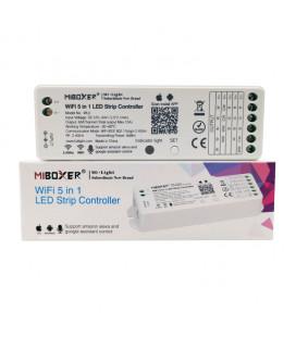 WiFi контроллер с трансмиттером, 5 в 1 (для одноцветной, RGB, RGBW,CCT,RGB+CCT), WL5