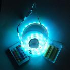 Светодиодная лента SMD 5050, 60 диодов, RGB, IP65 c боксом для батареек, с контроллером и пультом, 1 м, Люкс