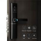 Врезной автономный биометрический замок с доступом по отпечатку пальца, магнитной карте, коду , ключу , черное стекло