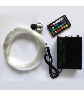 Оптоволоконнный кабель Звездное небо, 0,75 мм, жгут, 3 м с контроллером RGBW, 16 Вт, пульт 28 кнопок