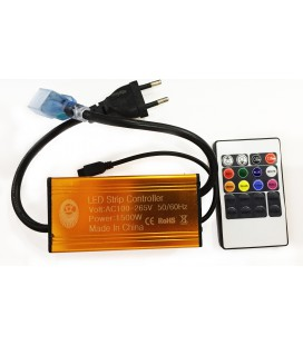 ИК контроллер для Led ленты 220 вольт, поддержка 100 м, 1500 Ватт , пульт 20 кнопок