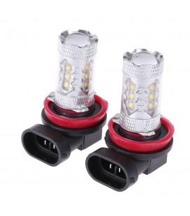 Светодиодная авто LED лампа ПТФ, CREE XBD +линза H8 80 Ватт