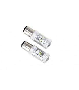 Светодиодная авто лампа 1157(P21/5W) BA15D , CREE XBD +линза 30 Ватт