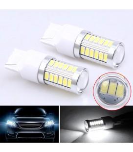 Светодиодная авто лампа 7443 (W21/5W, T20) 5630 +линза 8 Ватт