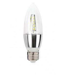 Лампа светодиодная свеча прямая прозрачная E27, 9Вт, 220В