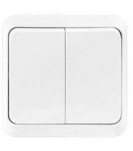 Выключатель 2-х клавишный накладной (открытой установки), белый, 10А