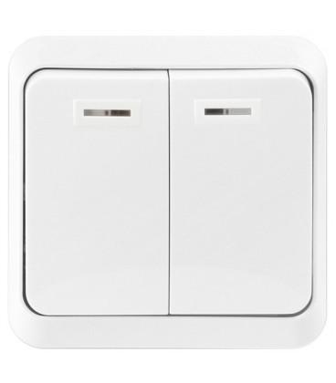 Выключатель 2-х клавишный накладной (открытой установки)