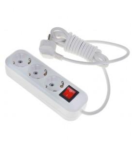 Электрический удлинитель 3 розетки, 3 м, c заземлениeм, с выключателем, ПВС