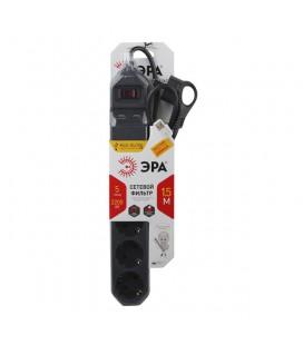 Сетевой фильтр удлинитель Эра 5 розеток c USB портом 2 шт., 1,5 м, черный