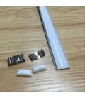 Гибкий алюминиевый профиль (1 м)+ молочный акриловый экран+ 2 заглушки+крепеж