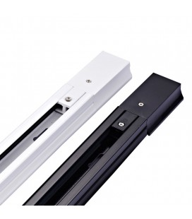 Шинопровод (шина) для трековых светильников однофазный с коннекторм питания, белый, 1 метр