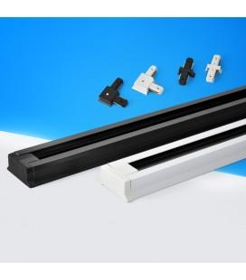 Шинопровод (шина) для трековых светильников однофазный с коннекторм питания, белый, 2 метра