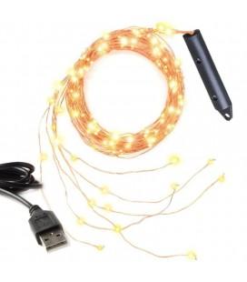 Светодиодная гирлянда Нить (Роса) Лоза ,10 нитей, 200 диодов ,2 м, 5 В, USB