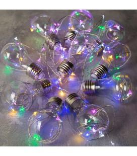 Светодиодная гирлянда лампочки, 3 м метров, с адаптером питания AC 220 В, цвет RGB