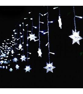 Светодиодная гирлянда бахрома снежинки,  220 вольт, 2,5*0,5 м, соединяемая