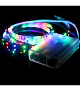 Светодиодная лента RGB, SMD 2835, 60 д/м, 6 В, IP33 c боксом для батареек и контроллером