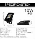 Светодиодный прожектор RGB 220 В 10 Вт , COB, SLIM, IP65