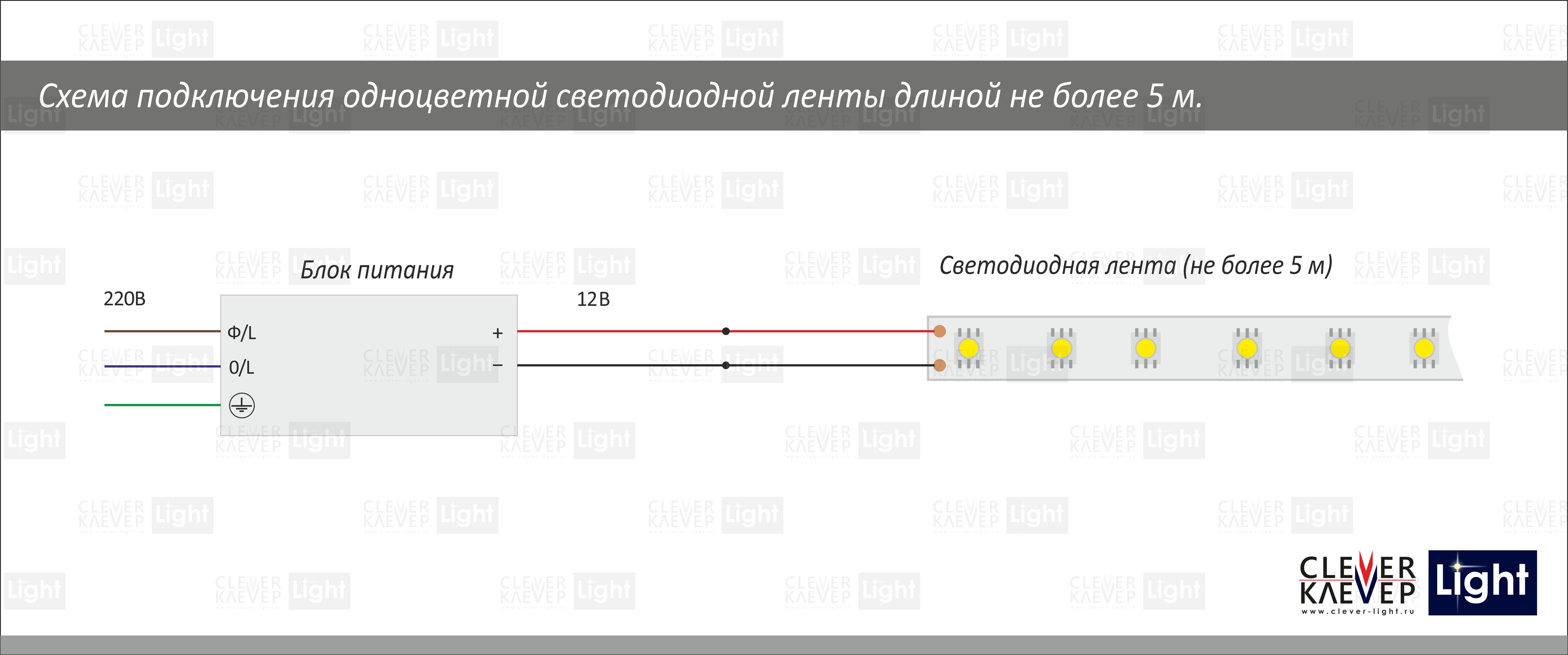 схема включения диодной ленты на 220