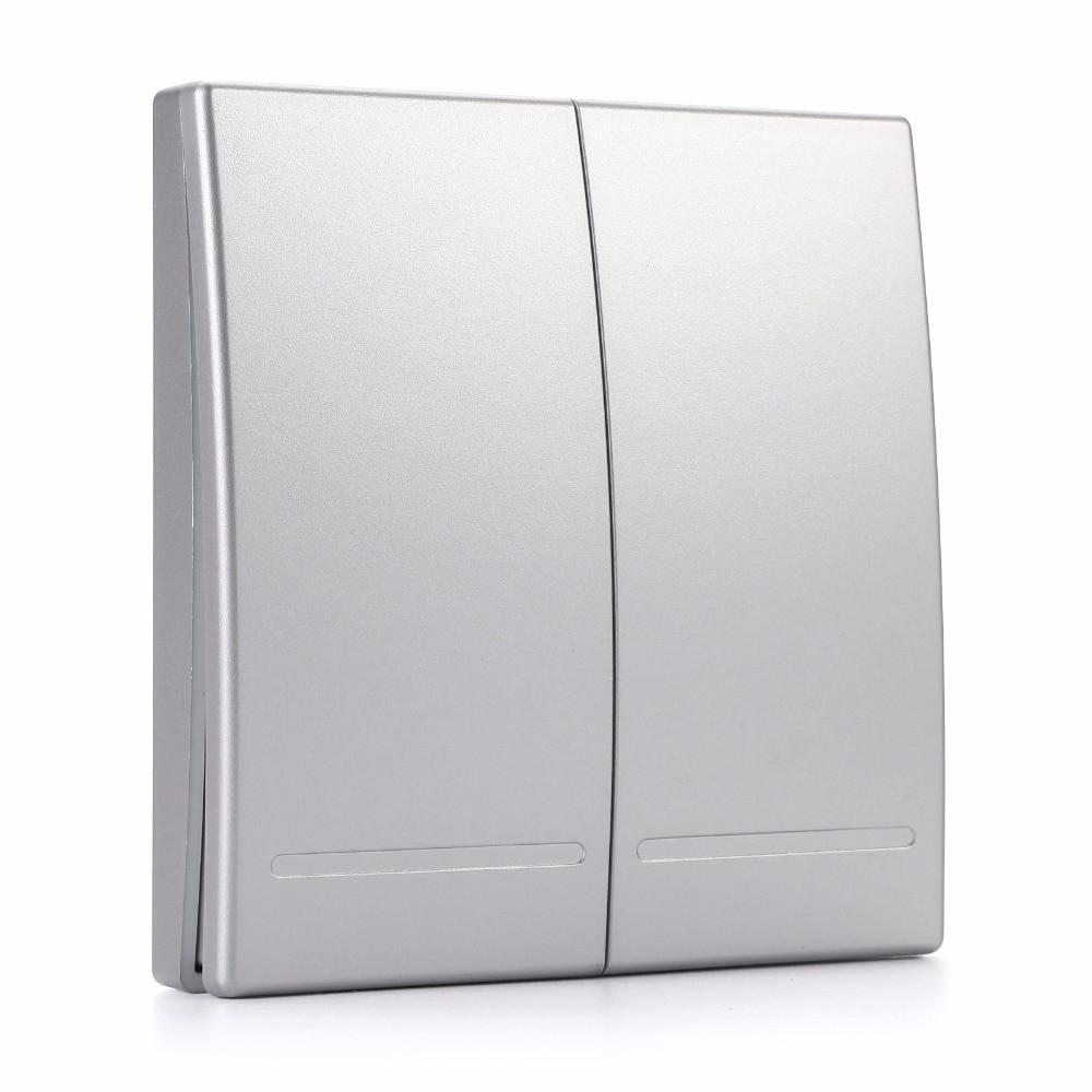 Выключатель - 2-ух клавишный, серебро